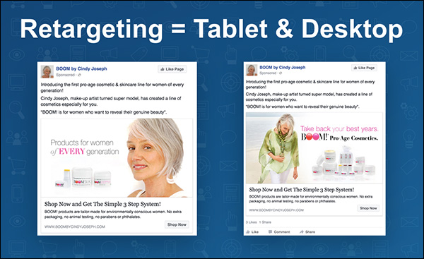Retarget consumers with tablet and desktop — a slide from Ezra Firestone's keynote presentation at Content & Commerce Summit 2017