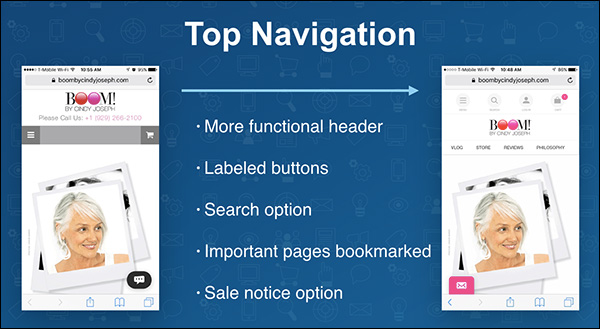 Mobile top navigation: more functional header; labeled buttons; search option; important pages bookmarked; sale notice option — a slide from Ezra Firestone's keynote presentation at Content & Commerce Summit 2017