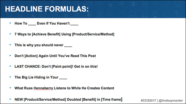 Headline formulas from Lindsay Marder's presentation at Content & Commerce Summit 2017