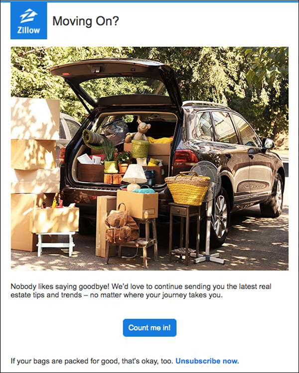 An example of a re-engagement email from Zillow