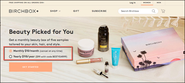 Birchbox offering monthly and yearly payment options