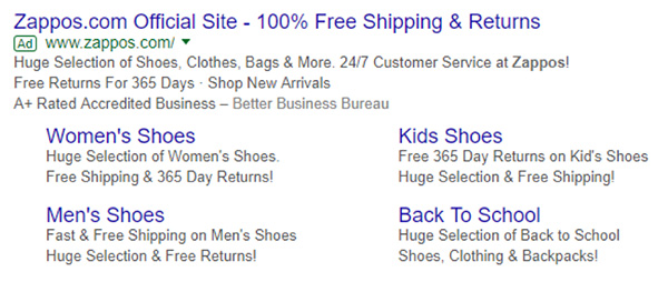 Zappos promoting their return policy within their paid advertisement on Google