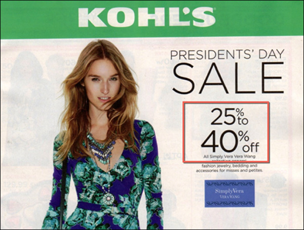 Kohl's offering a 40% discount for President's Day