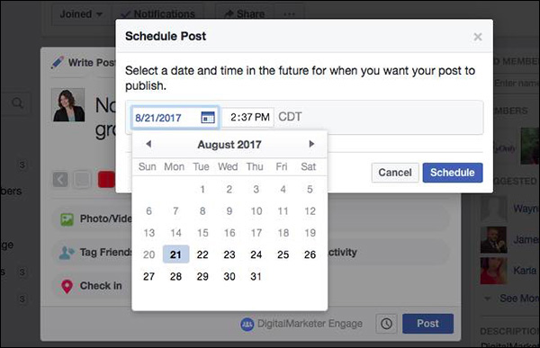 Scheduling a post in DigitalMarketer Engage