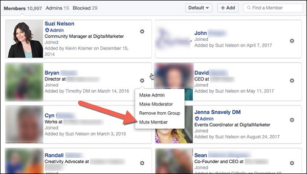 Mute Member feature option in DigitalMarketer Engage