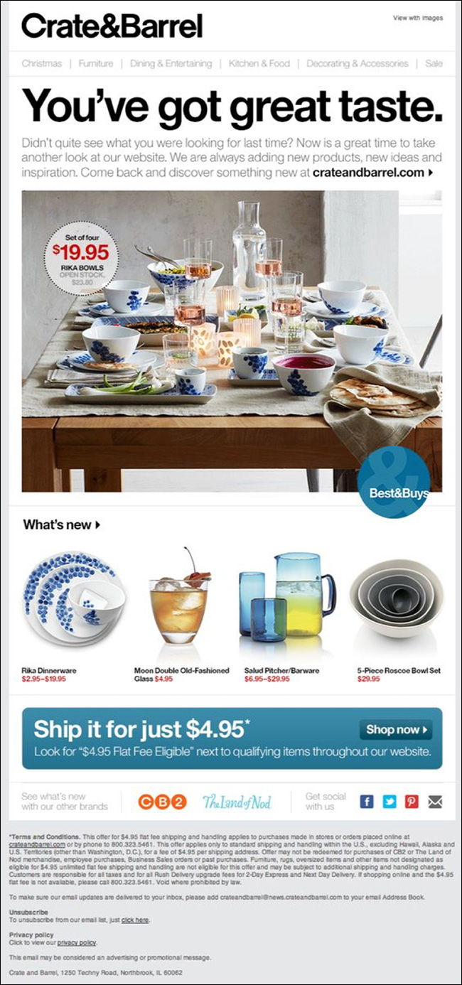 Crate & Barrel Behavioral Email