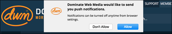 A push notification opt-in request from Dominate Web Media