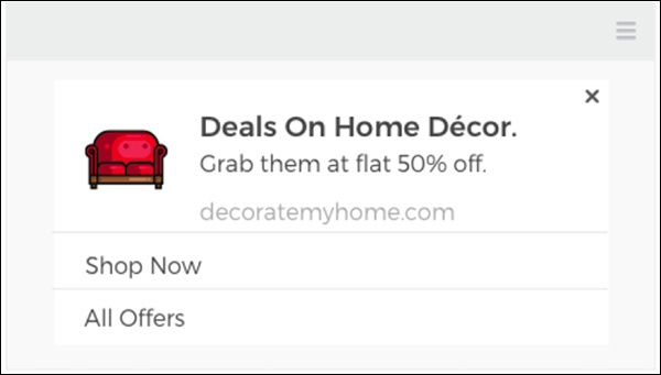 A web push notification with a 50% discount offer