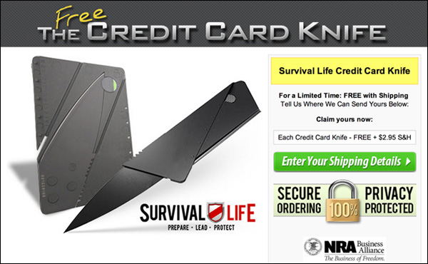 The landing page for the Credit Card Knife