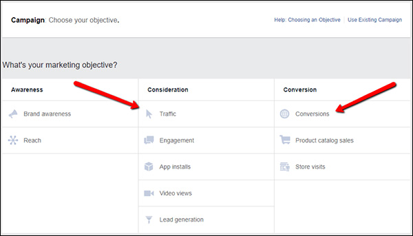 Selecting your Facebook marketing objective