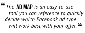 The Ad Map is an easy-to-use tool you can reference to quickly decide which Facebook ad type will work best with your offer.""