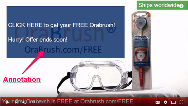 An example of a YouTube Annotation from Orabrush
