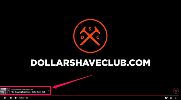 An example of a CTA overlay from Dollar Shave Club