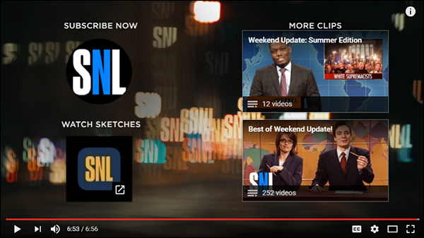 An example of YouTube End Screen on a Saturday Night Live video
