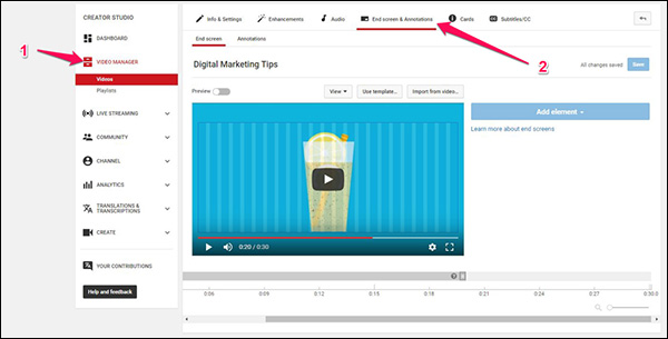 "To add an End Screen to a video on YouTube, go to your Creator Studio and click on ""Video Manager"" on the left. Then click on the video where you want to add an End Screen. And finally, click ""End screens & Annotations"" along the top."