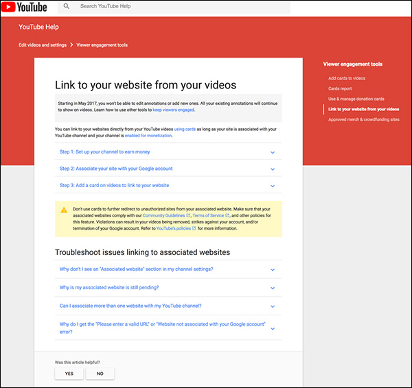 Guide to Link to your website from videos
