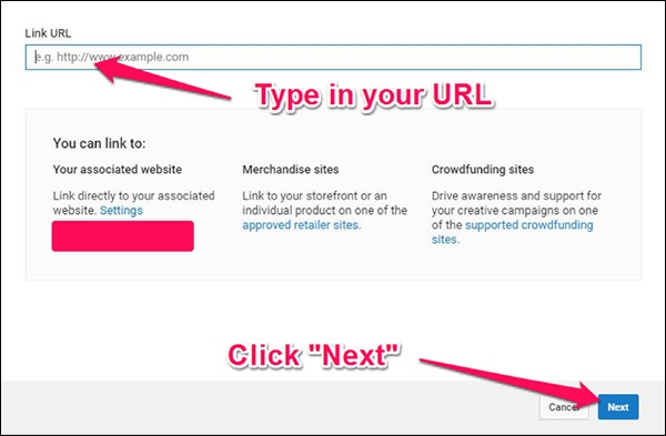 """Click """"Add element"""" then """"Link"""" to bring up this window"""