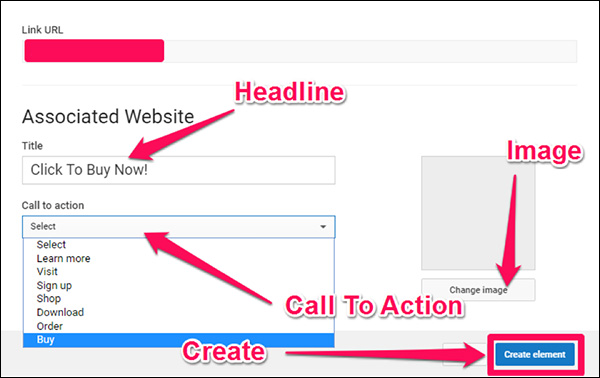 The final window gives you the chance to give your link element a headline, CTA button, and image