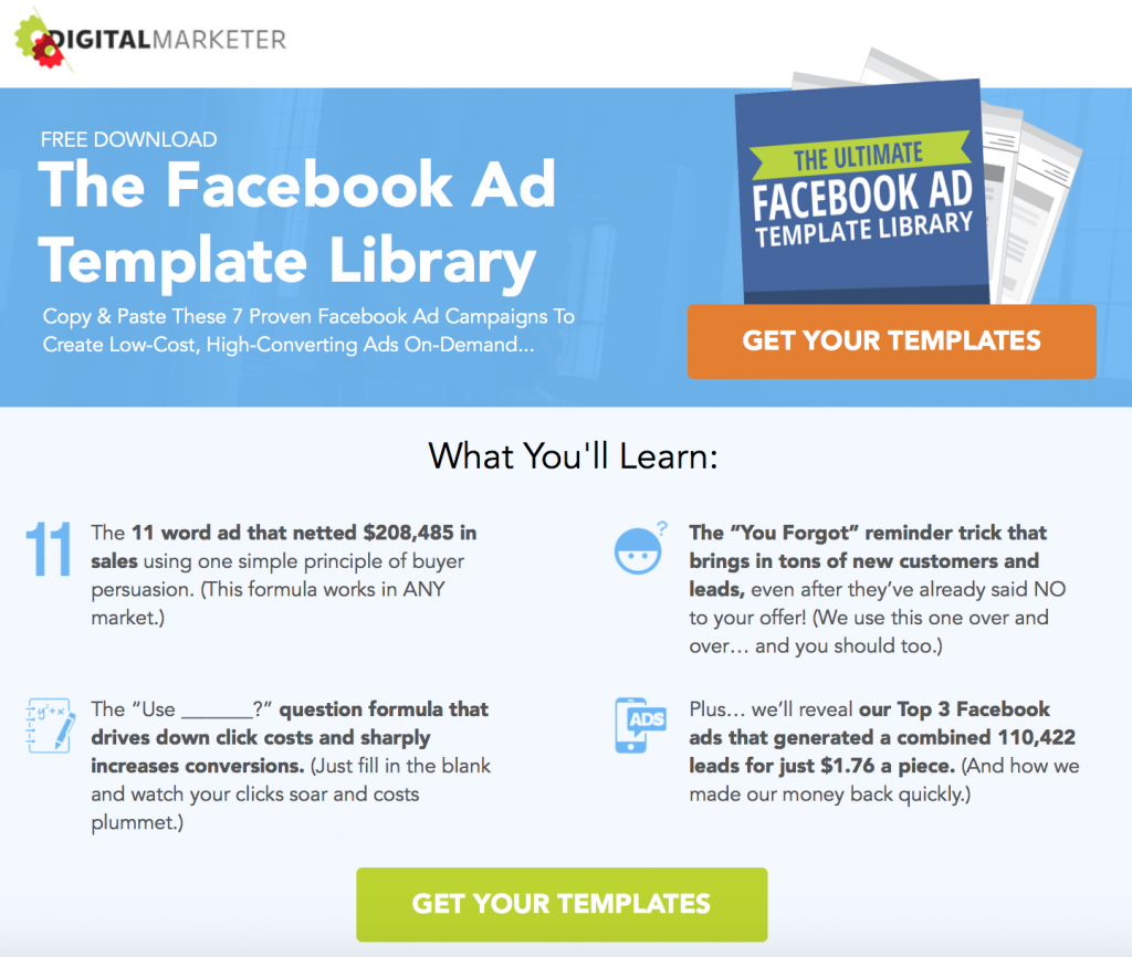 The Facebook Ad Template Library Lead Magnet from DigitalMarketer