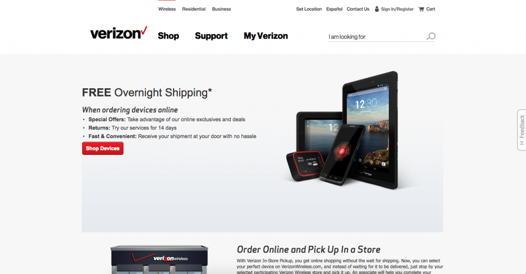 Free overnight shipping from Verizon