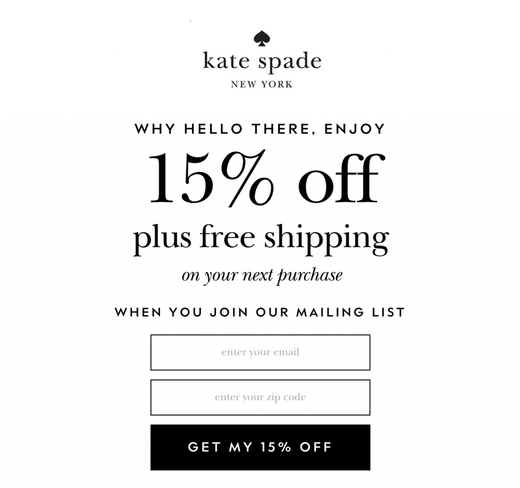 Discount and free shipping Lead Magnet from Kate Spade