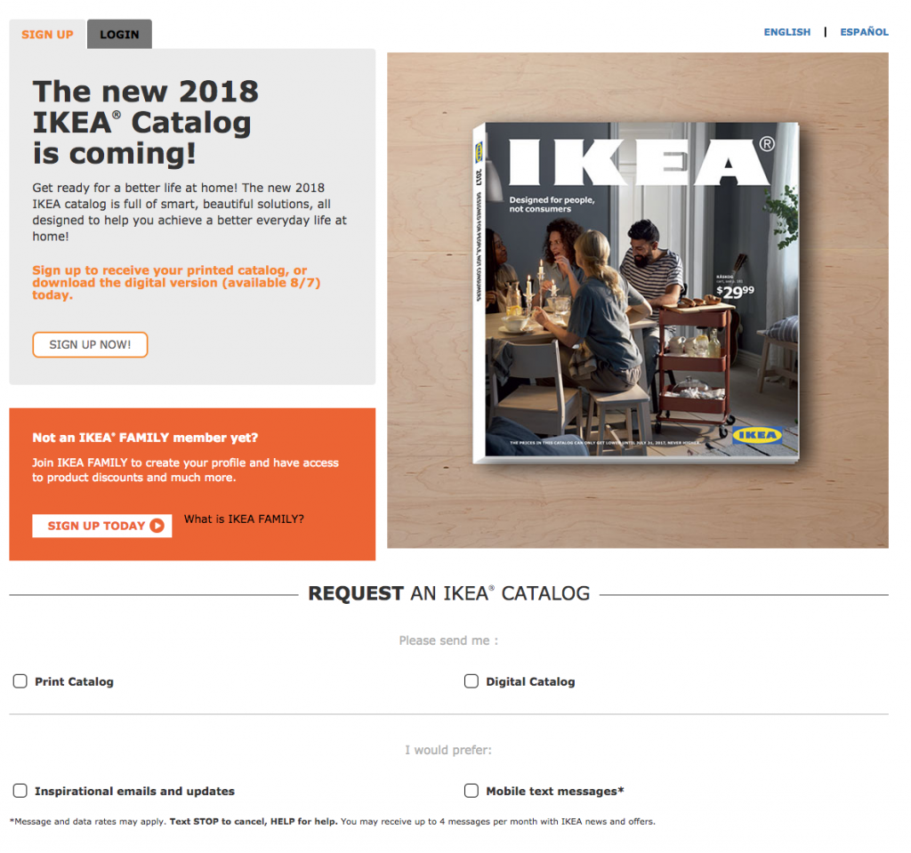 Ikea uses their catalog as a Lead Magnet