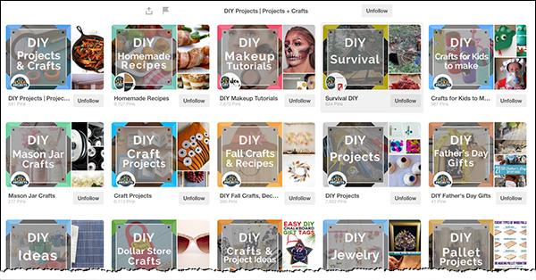 Descriptive Pinterest boards from DIY Ready