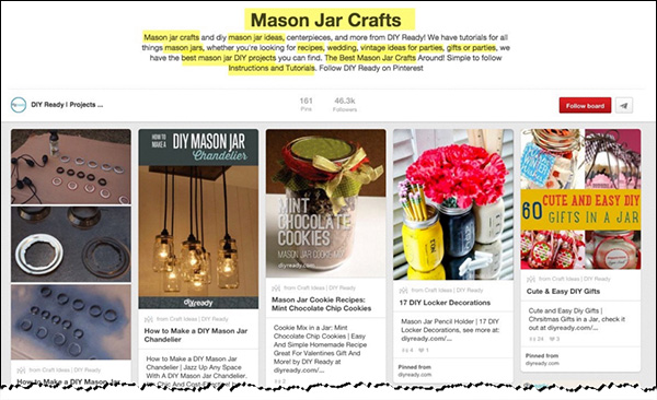 "A ""Mason Jar Crafts"" board optimized for the keyword phrase ""mason jar crafts"" and related keywords"