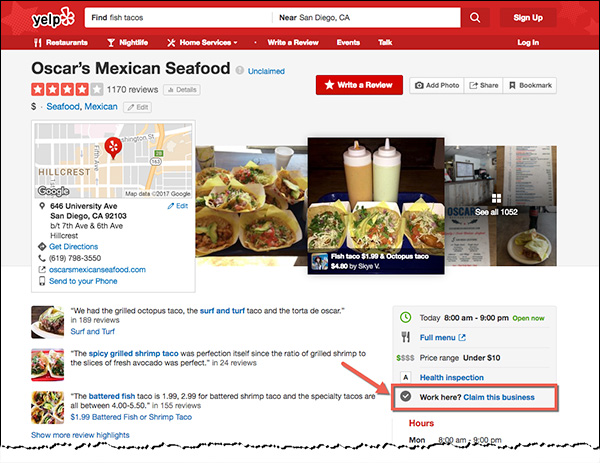 "The ""claim this business"" in Yelp"