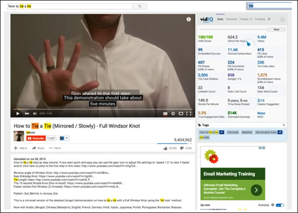 "A YouTube video optimized for the keyword phrase: ""how to tie a tie"""