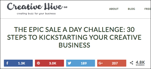 Creative Hive's challenge depicting the number of social shares it has earned