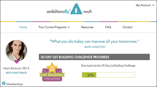 A screenshot of the members' area of AmbitionAlly's 30-Day Challenge