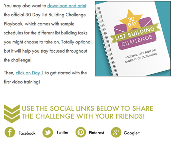 Social share buttons with a CTA at the bottom of the challenge's landing page