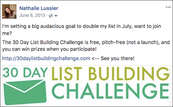 Facebook post announcing the 30-day challenge