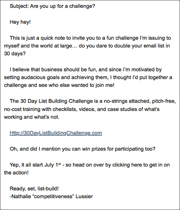 An email inviting list members to join the challenge