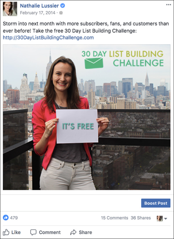 Announcing the 30-day challenge using a Facebook post