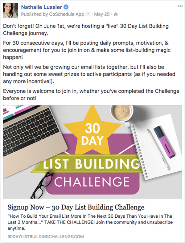 Announcing the 30-day challenge using a Facebook ad
