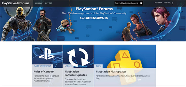The home page of the PlayStation forum community