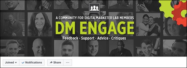 The Facebook cover photo of the DM Engage community