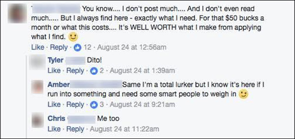 A DM Engage community member posting about the value they receive from the DM community
