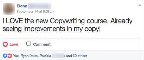 A DM Engage member posting about DigitalMarketer's copywriting certification