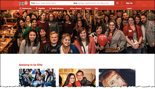 The home page of Yelp Elite