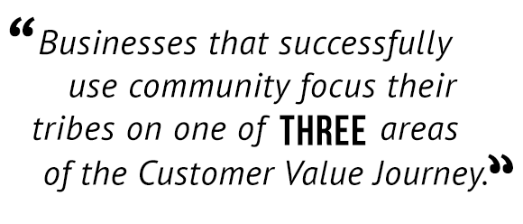 """""""Businesses that successfully use community focus their tribes on one of three areas of the Customer Value Journey."""""""