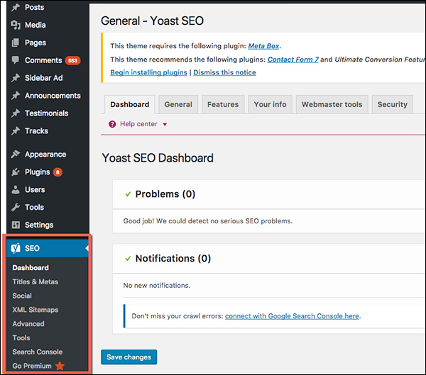 Options available in the Yoast WordPress plug-in
