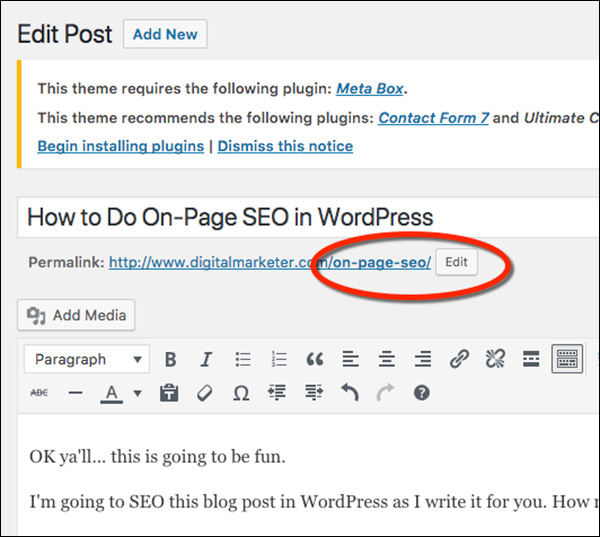 Where you can edit your slug in WordPress when doing on-page SEO