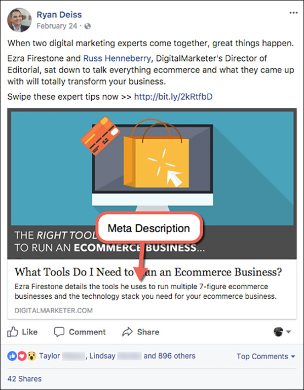 Meta description for a DigitalMarketer blog post on Facebook