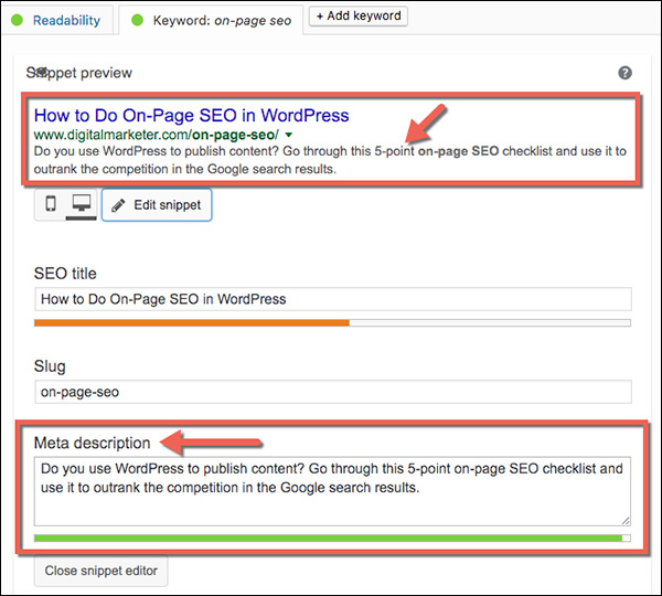 Optimizing the meta description in WordPress using the Yoast plug-in