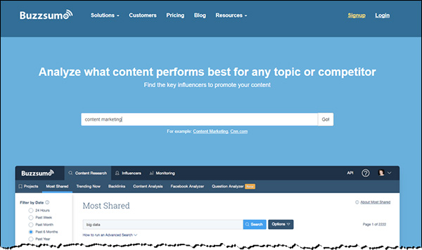 The homepage of BuzzSumo