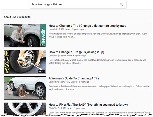 """Searching for """"how to change a tire"""" in YouTube"""