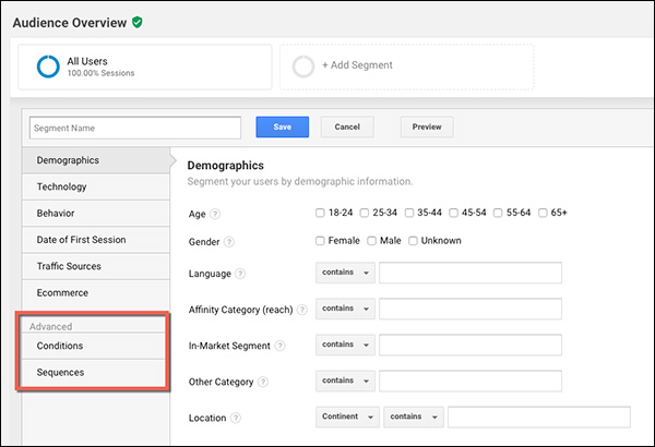 The Advanced filters: Conditions and Sequences in Google Analytics